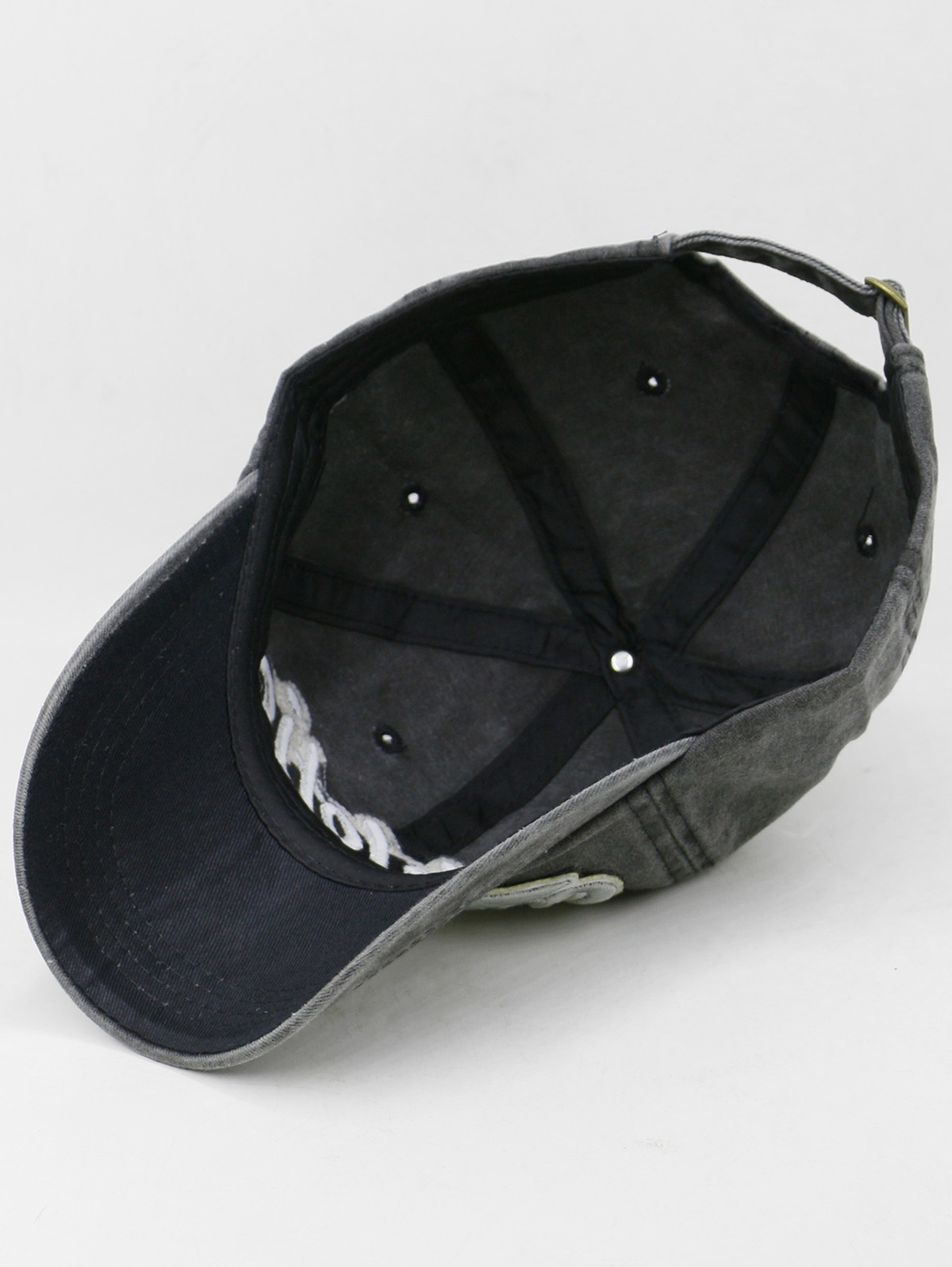 Letter Pattern Embroidered Washed Dyed Baseball Cap BLACK