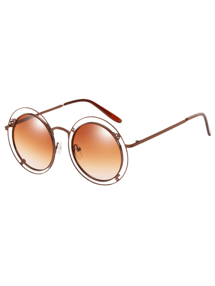 Anti Fatigue Hollow Out Frame Round Sunglasses CAMEL BROWN