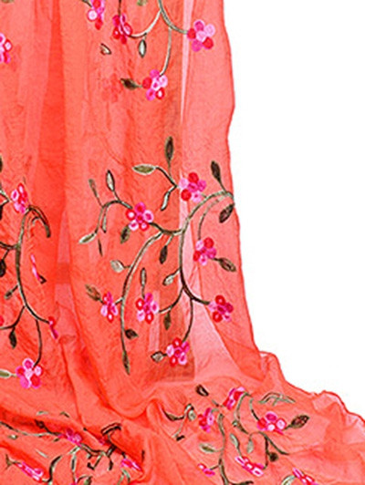 Flower Embroidery Silky Spring Autumn Scarf PUMPKIN ORANGE