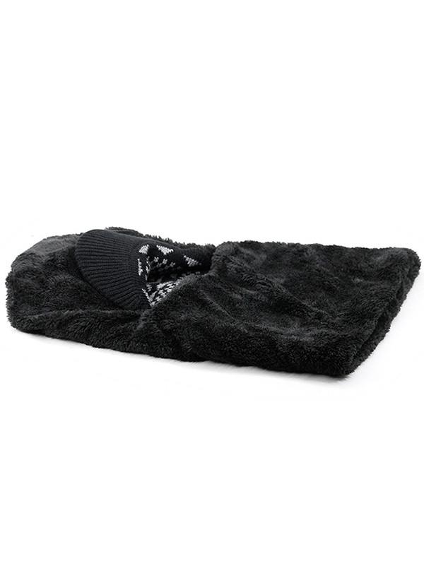 Outdoor Knitted Thicken Ski Warm Hat BLACK