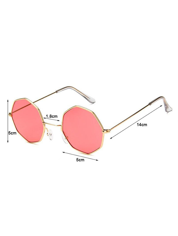 Geometric Metal Frame Sunglasses WATERMELON PINK