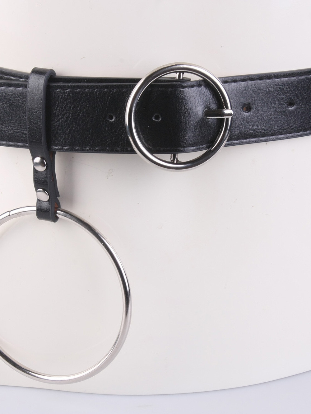 Round Metal Pin Buckle Circle Leather Waist Belt BLACK