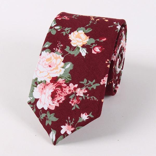 Vintage Floral Printed Cotton Neck Tie WINE RED