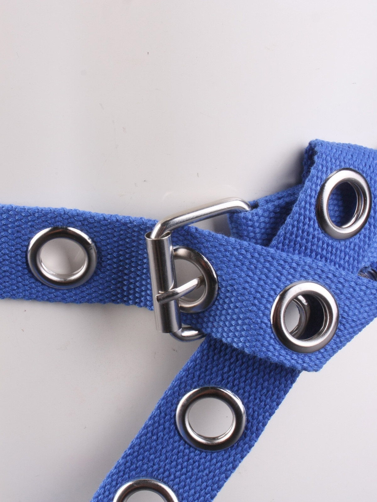 Round Grommet Casual Canvas Belt BLUE
