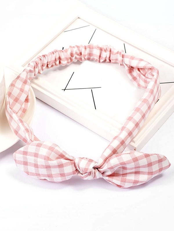 Vintage Checked Pattern Bowknot Elastic Hairband PINK