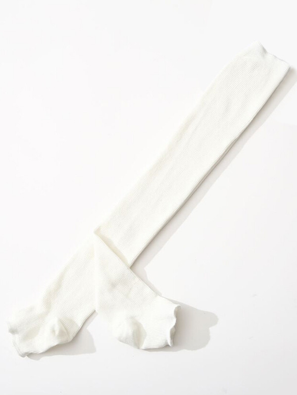 Vintage Solid Color Leg Warmers WHITE