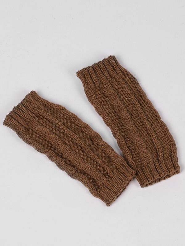 Elegant Solid Color Fingerless Gloves  CINNAMON
