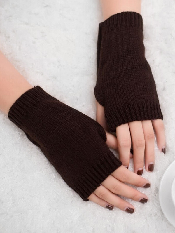 Winter Fingerless Knitted Gloves  COFFEE