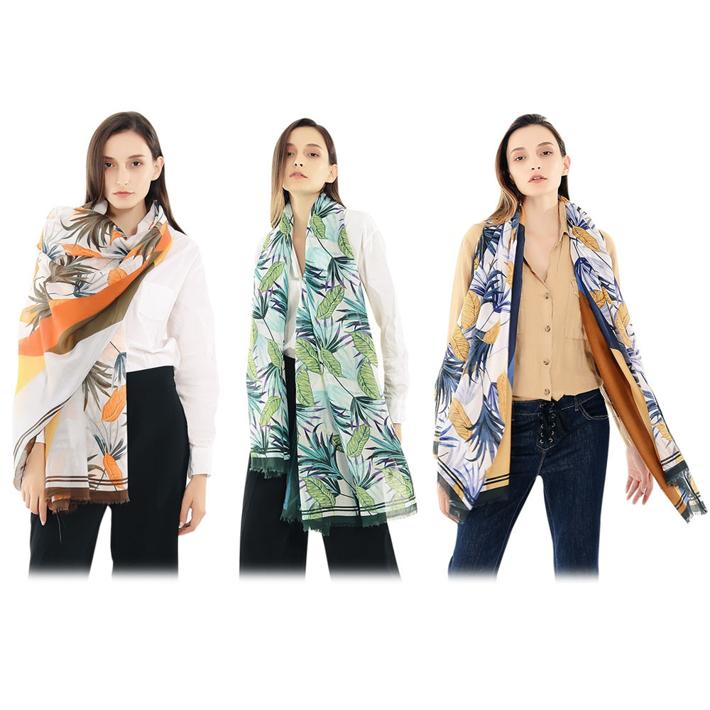 Female Print Soft Lady Fringed Scarf Women Wide Long Shawl Wrap GREEN