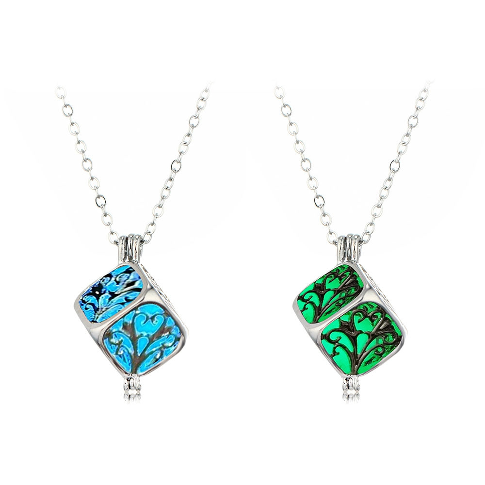 Charm Silver Cube Light Necklace Women Glowing Pendant Jewelry CRYSTAL BLUE