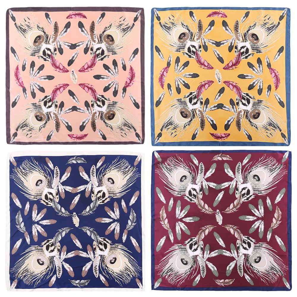 Fashion Plume Print Color Blocking Square Neckerchief Bandana Women Scarf PINK