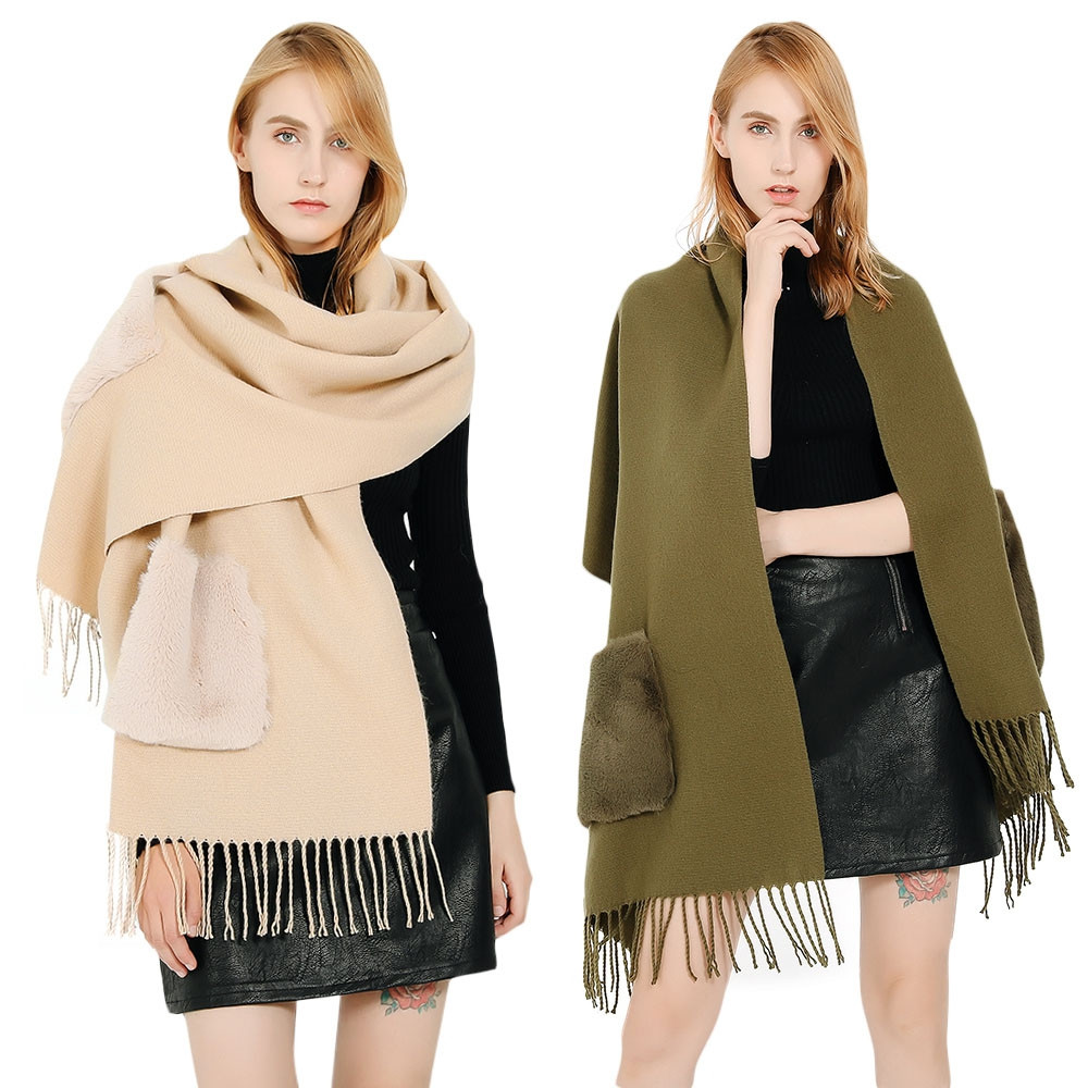 Trendy Fringed Pocket Solid Color Shawl Women Large Scarf BLANCHED ALMOND