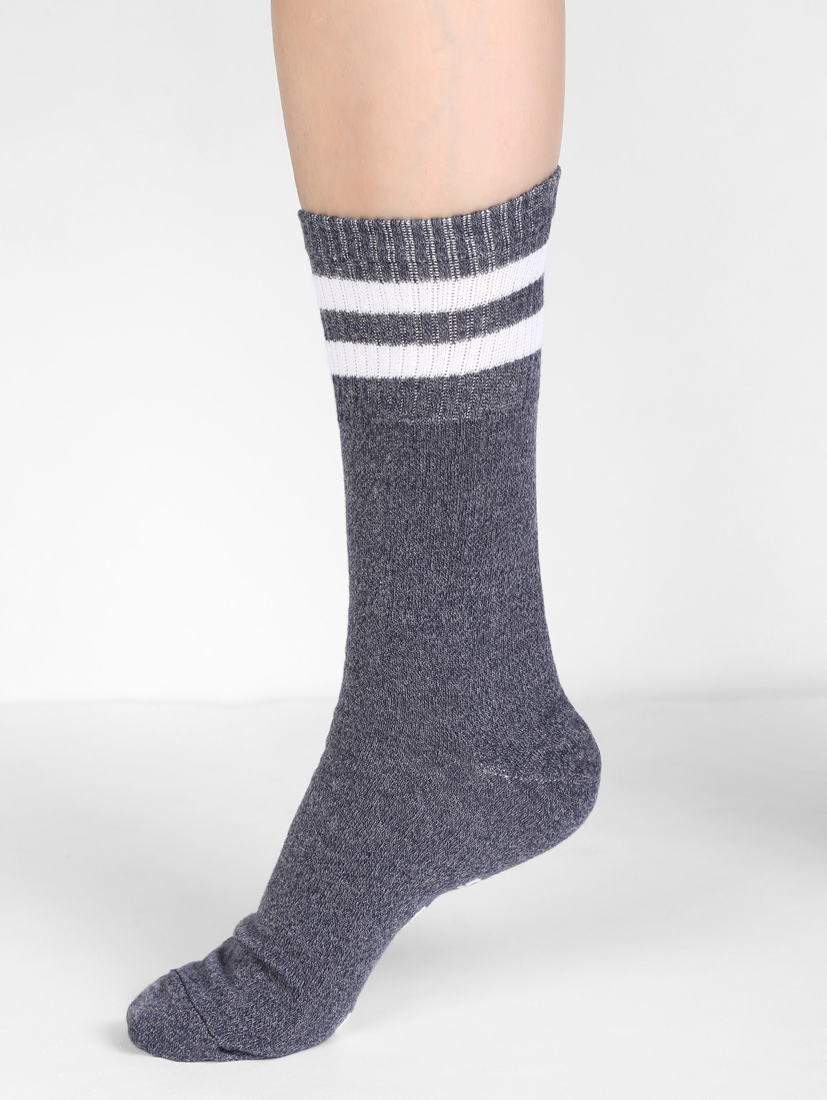 Fun Printing Letter Crew Socks CLOUDY GRAY