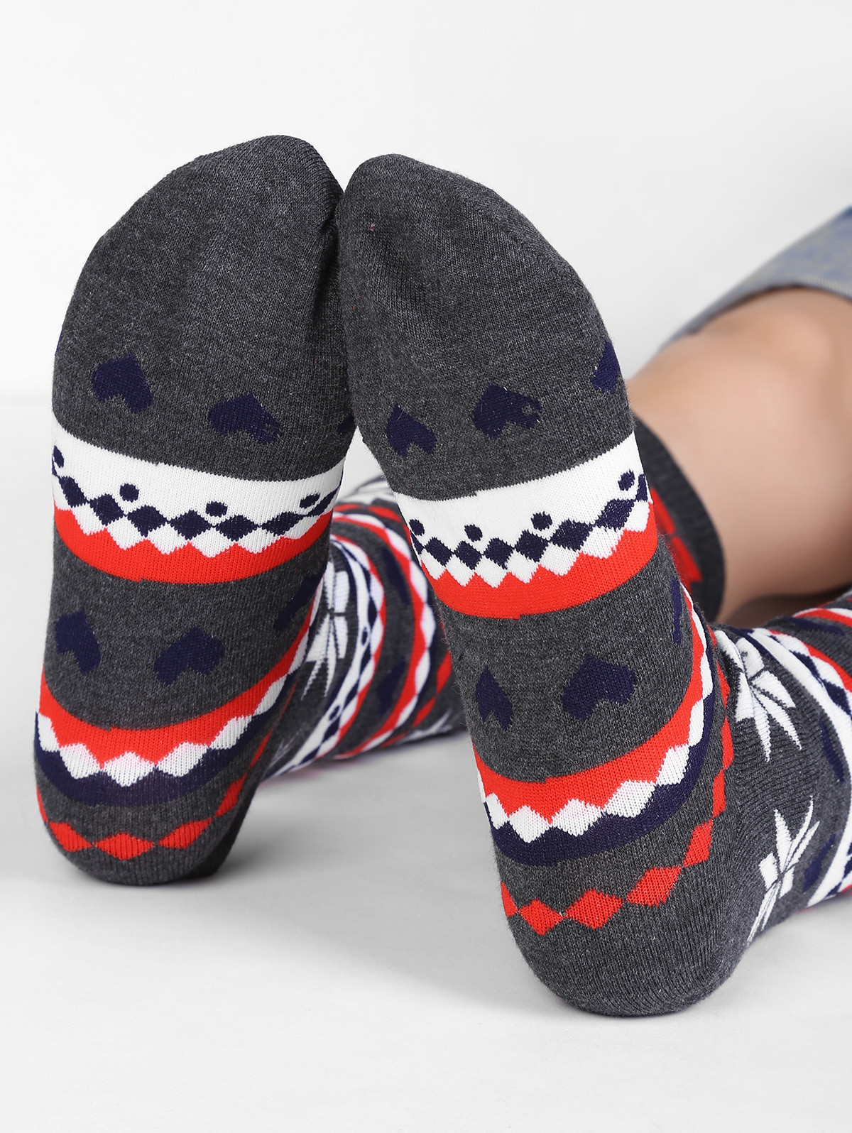 Christmas Snowflake Geometry Mid Calf Socks MULTI-A