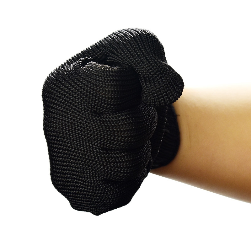 A pair of anti cut protective self-defense level 5 wire gloves BLACK