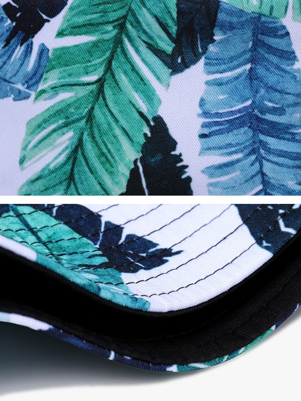 Fresh Leaves Printing Reversible Bucket Hat  MACAW BLUE GREEN