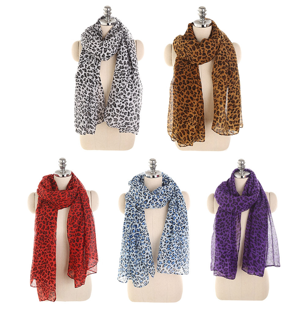 Stylish Leopard Print Lightweight Shawl Long Scarf for Women BROWN