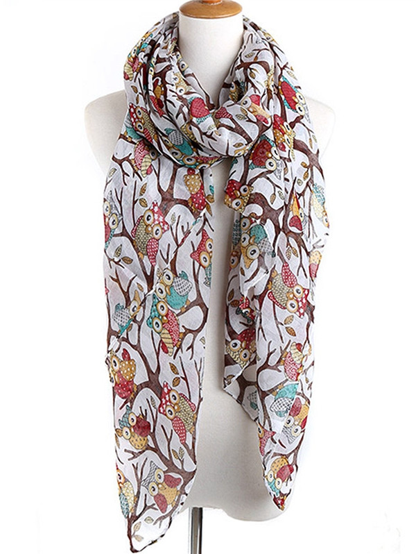 Naughty Owl Decorative Spring Fall Scarf  WHITE