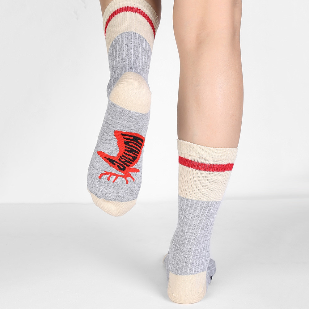 Fun Letter Color Block Crew Socks LIGHT GRAY