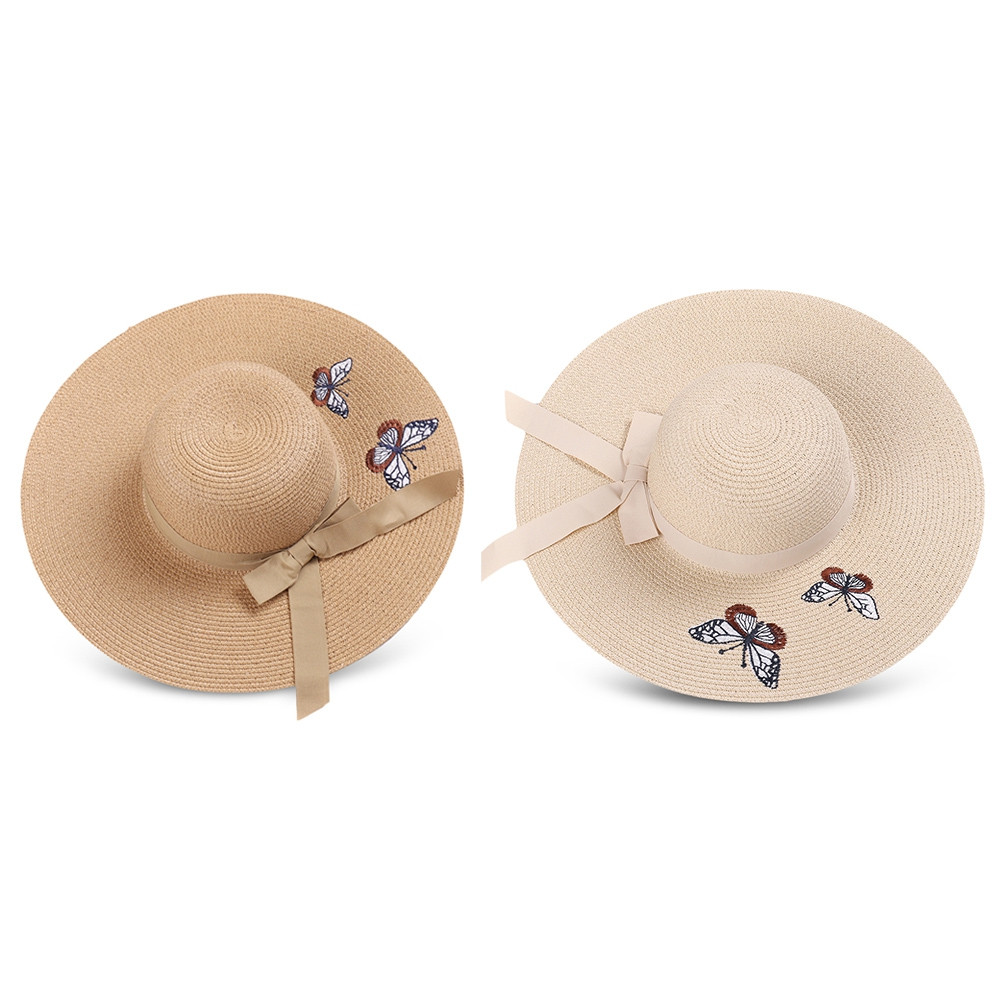 Woman Butterfly Embroidery Pattern Big Brim Bow Knot Outdoor Straw Sun Hat BEIGE