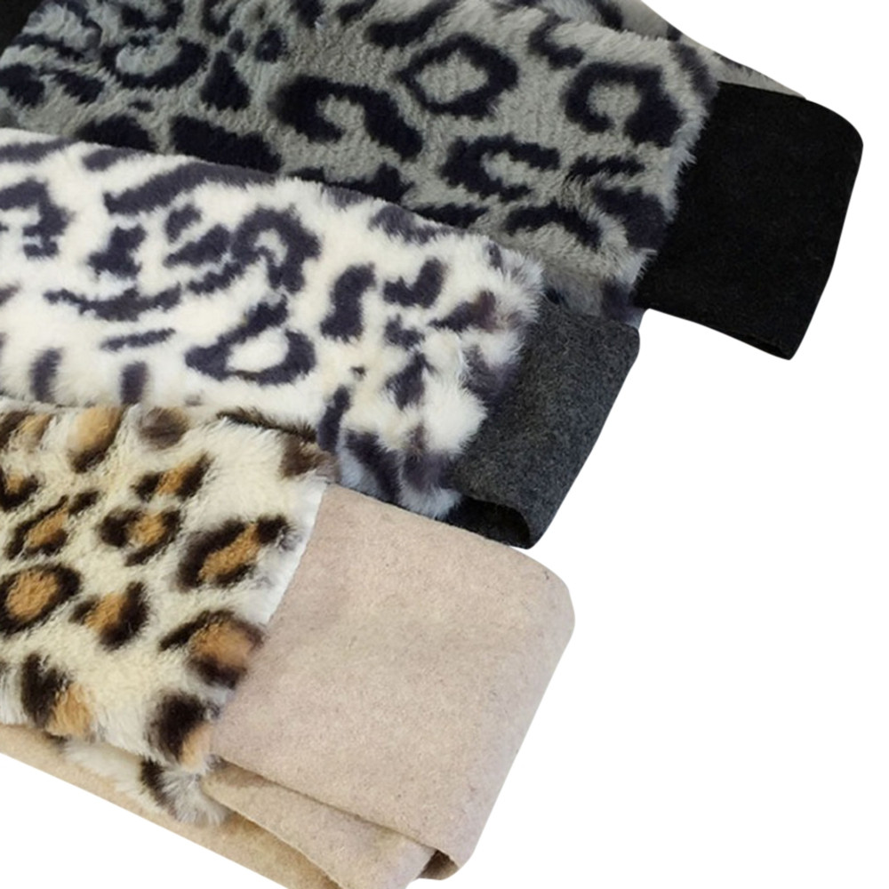 Unisex Leapard Pattern Wool Stuffed Fur Scarf Neck Warmer WHITE