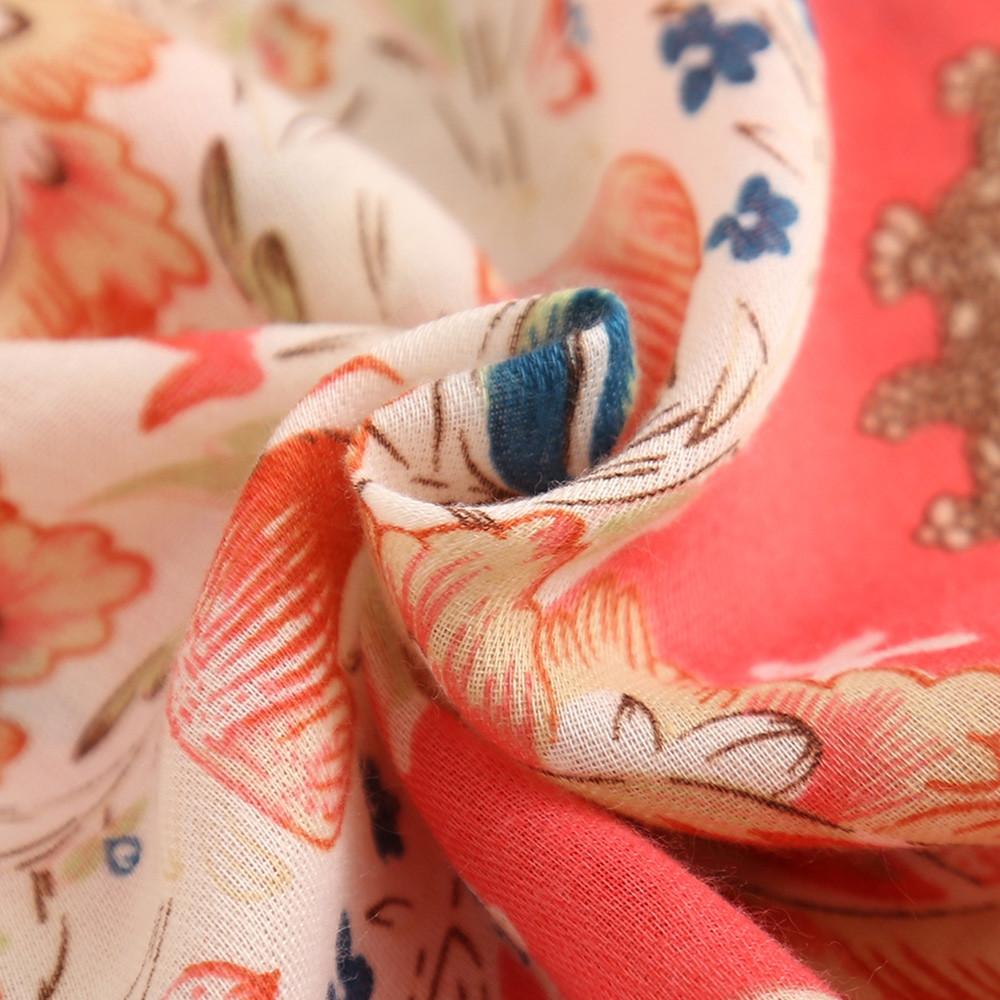 Floral Pattern Pink Tassels Oversize Lightweight Women Scarf Wrap Shawl MULTI