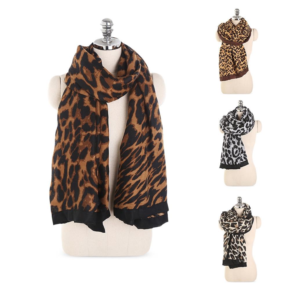 Classic Leopard Print Lightweight Women Long Wrap Shawl Scarf WHITE