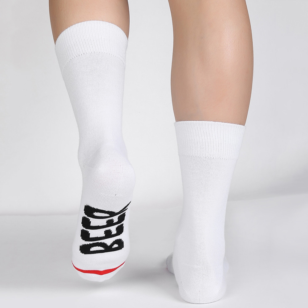 Novelty BEER ME Pattern Mid Calf Socks WHITE
