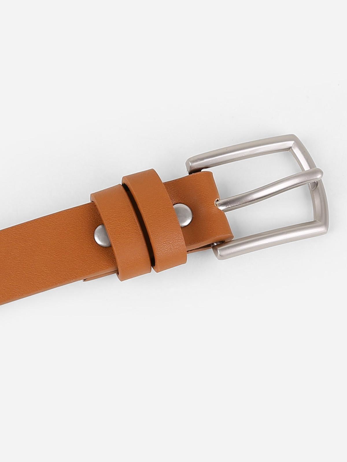 Elegant Solid Color Faux Leather Pant Belt CAMEL BROWN