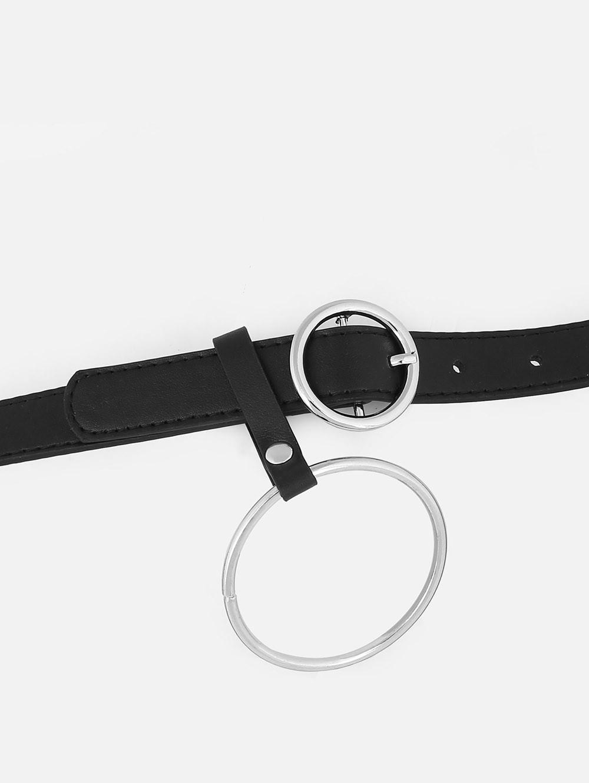Metal Ring Embellished Faux Leather Belt  BLACK