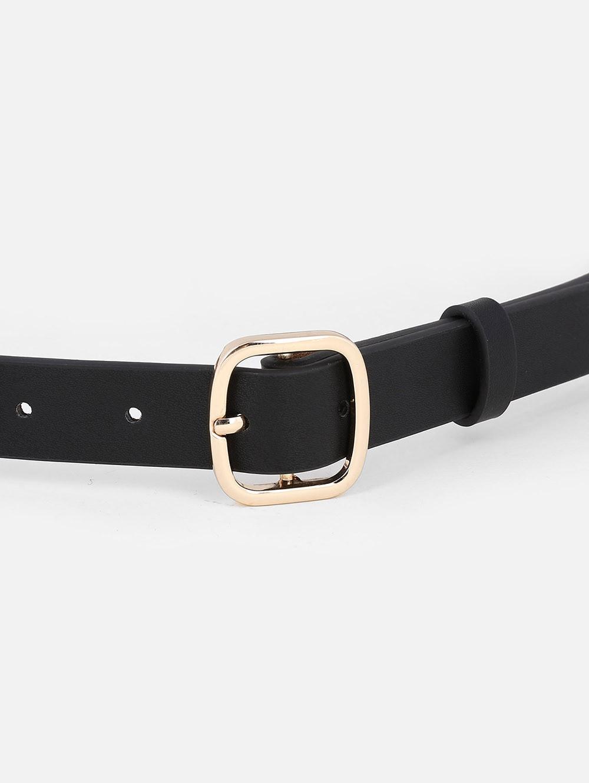 Metal Buckle Artificial Leather Skinny Belt BLACK
