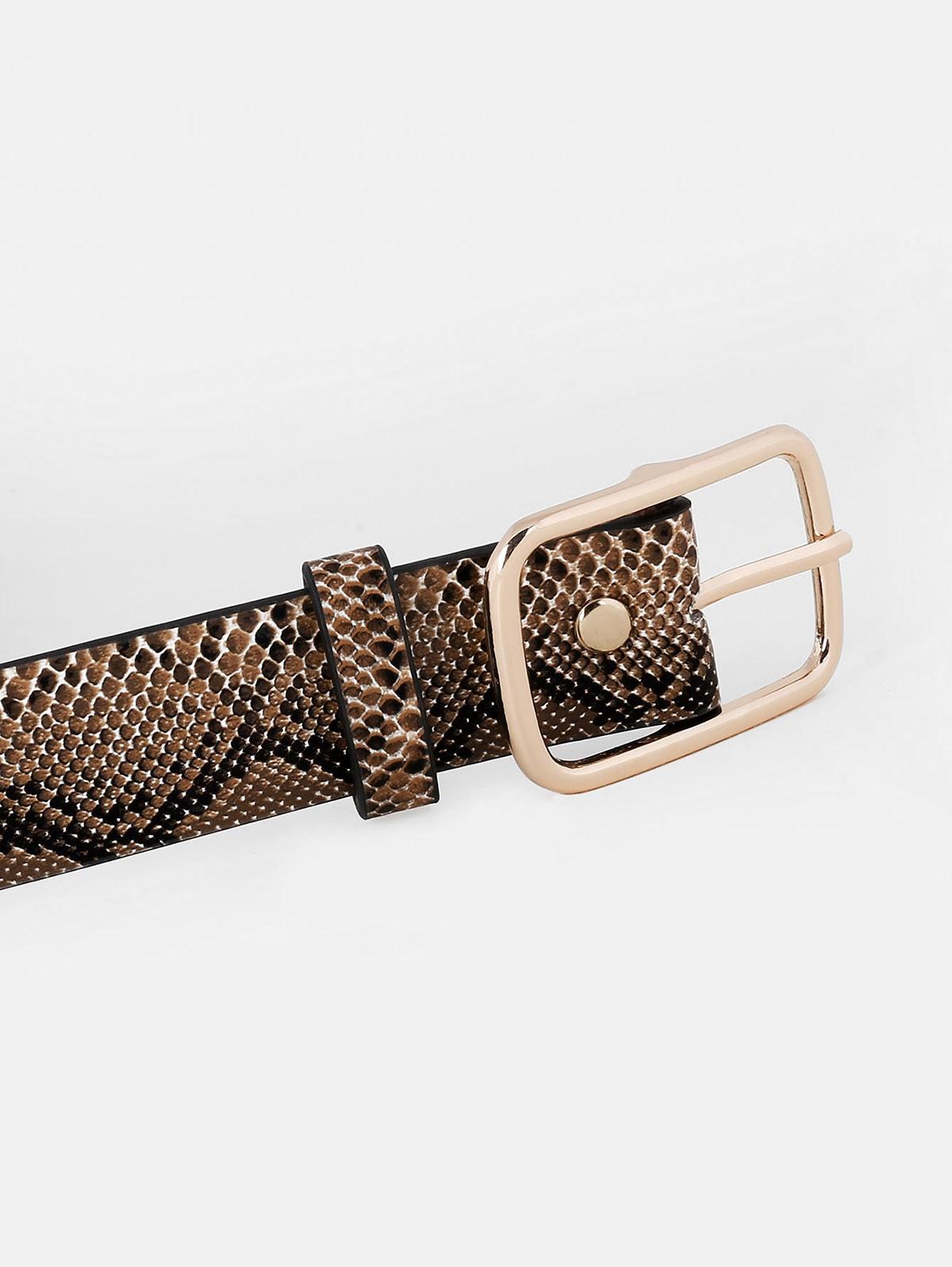 Metal Buckle Snake Pattern Waist Belt  CAMEL BROWN