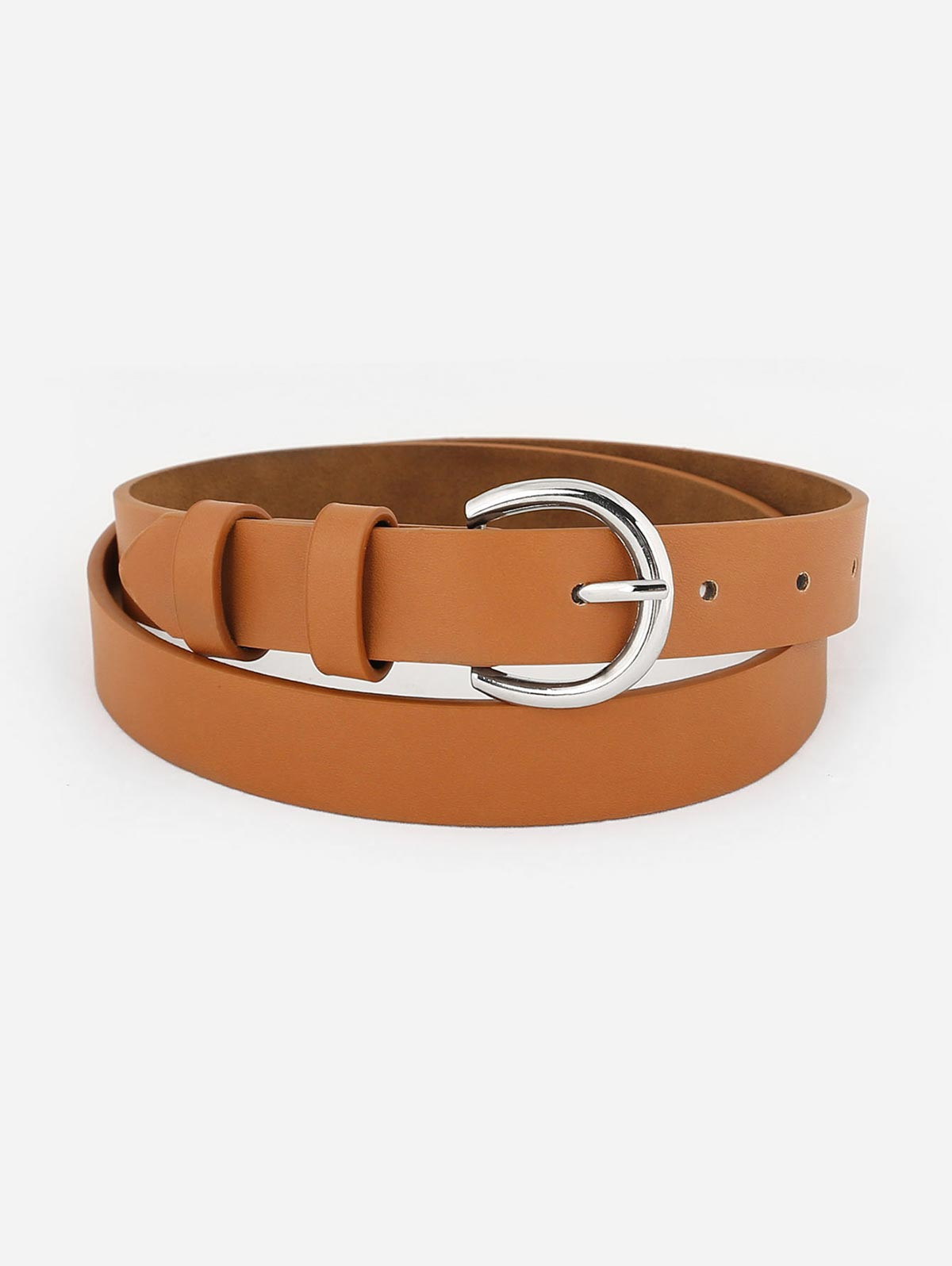 Simple Silver Metal Buckle Artificial Leather Waist Belt CAMEL BROWN