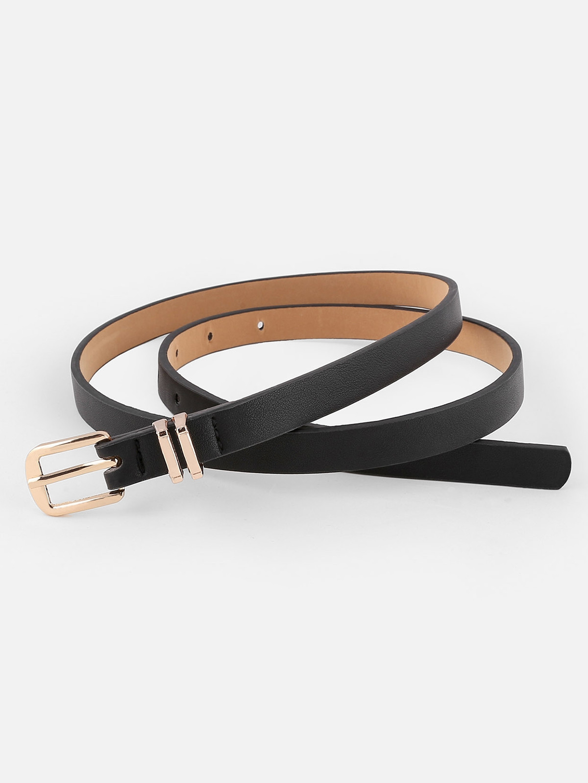 Metal Buckle Artificial Leather Pant Belt  BLACK