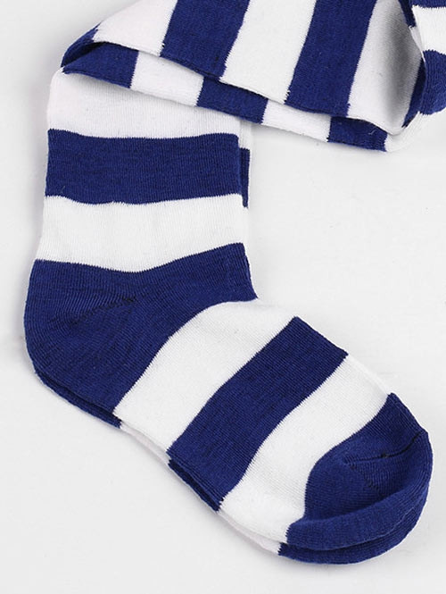 Winter Striped Pattern High Knee Socks COBALT BLUE