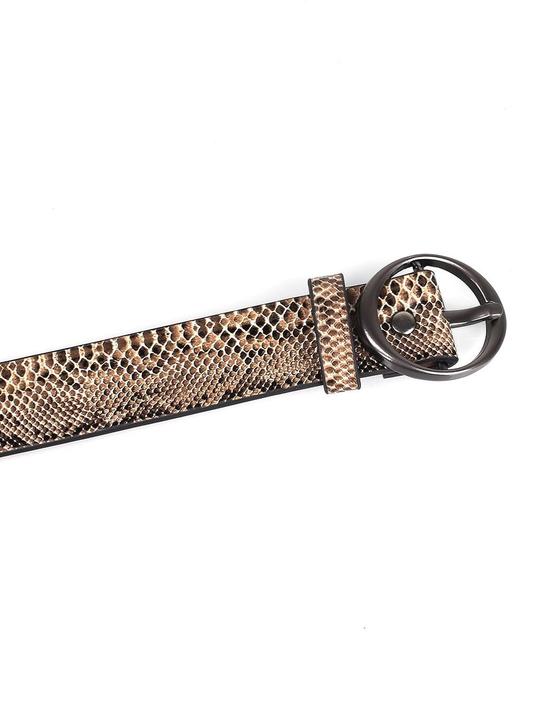 Serpentine Metal Pin Buckle Skinny Belt CAMEL BROWN