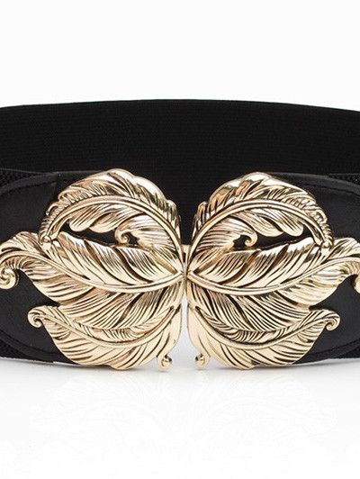 Alloy Leaf Design Faux Leather Wide Belt BLACK