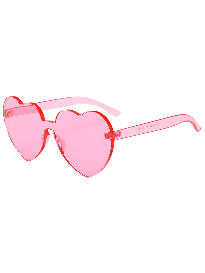 Novelty Heart Lens One-piece Sunglasses PIG PINK