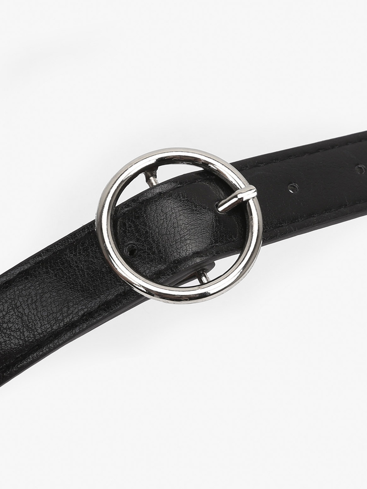 Metal Circle Buckle Artificial Leather Belt BLACK