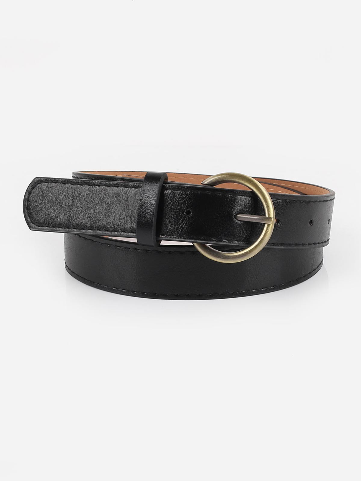 Golden Buckle Faux Leather Casual Belt  BLACK