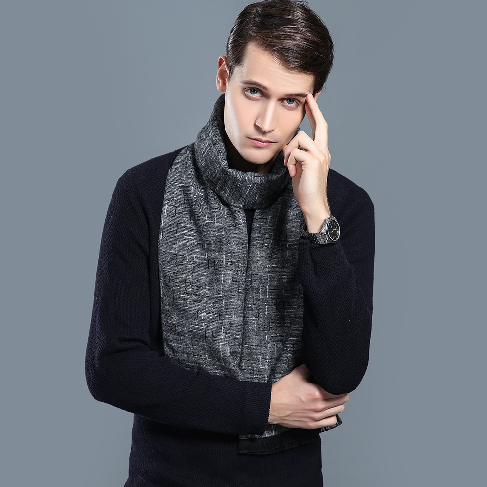 Cashmere Men Scarf Long Tassel Winter Design Business Scarf BLACK 1PC