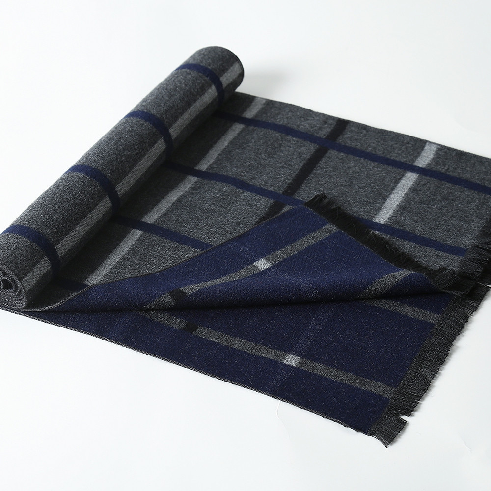 Cashmere Men  Business Scarf Winter Company Designer Plaid Long Tassel Scarf CADETBLUE 1PC