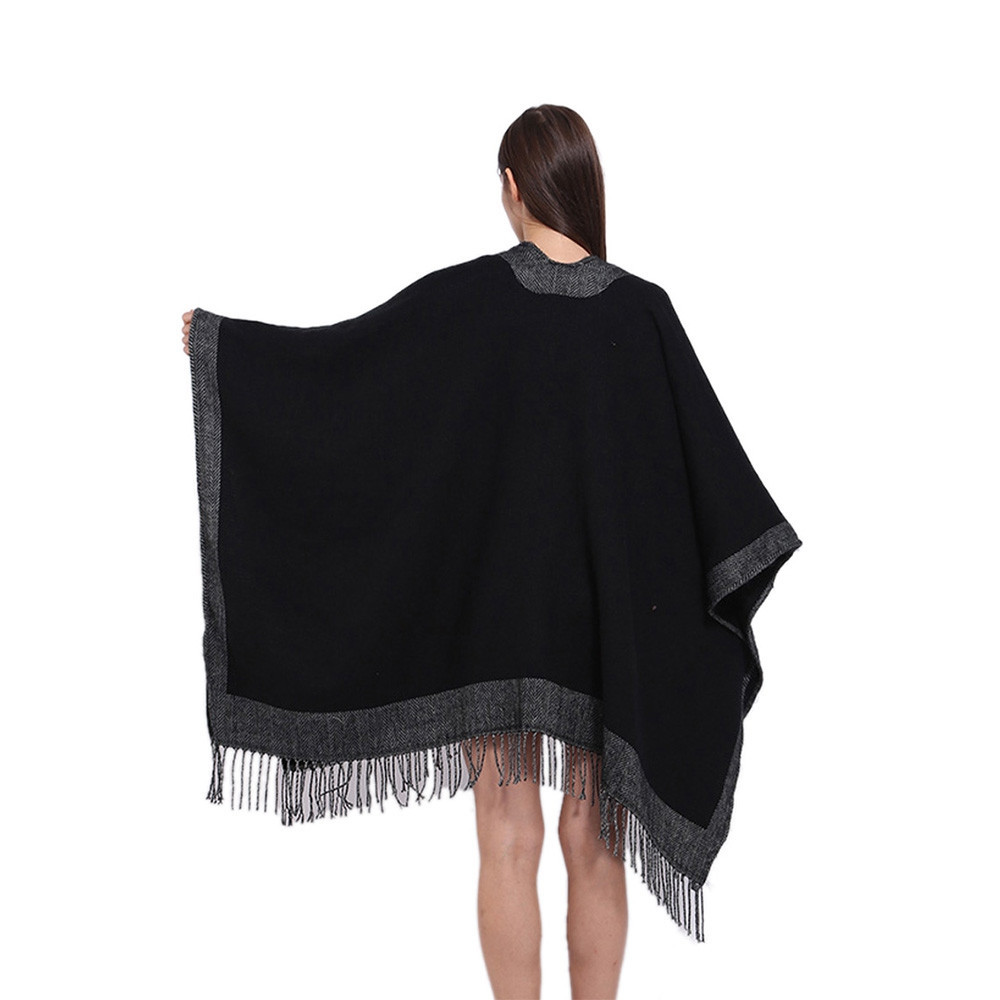 Double Side Cashmere Thick Soft Winter Women Shawl BLACK 1PC