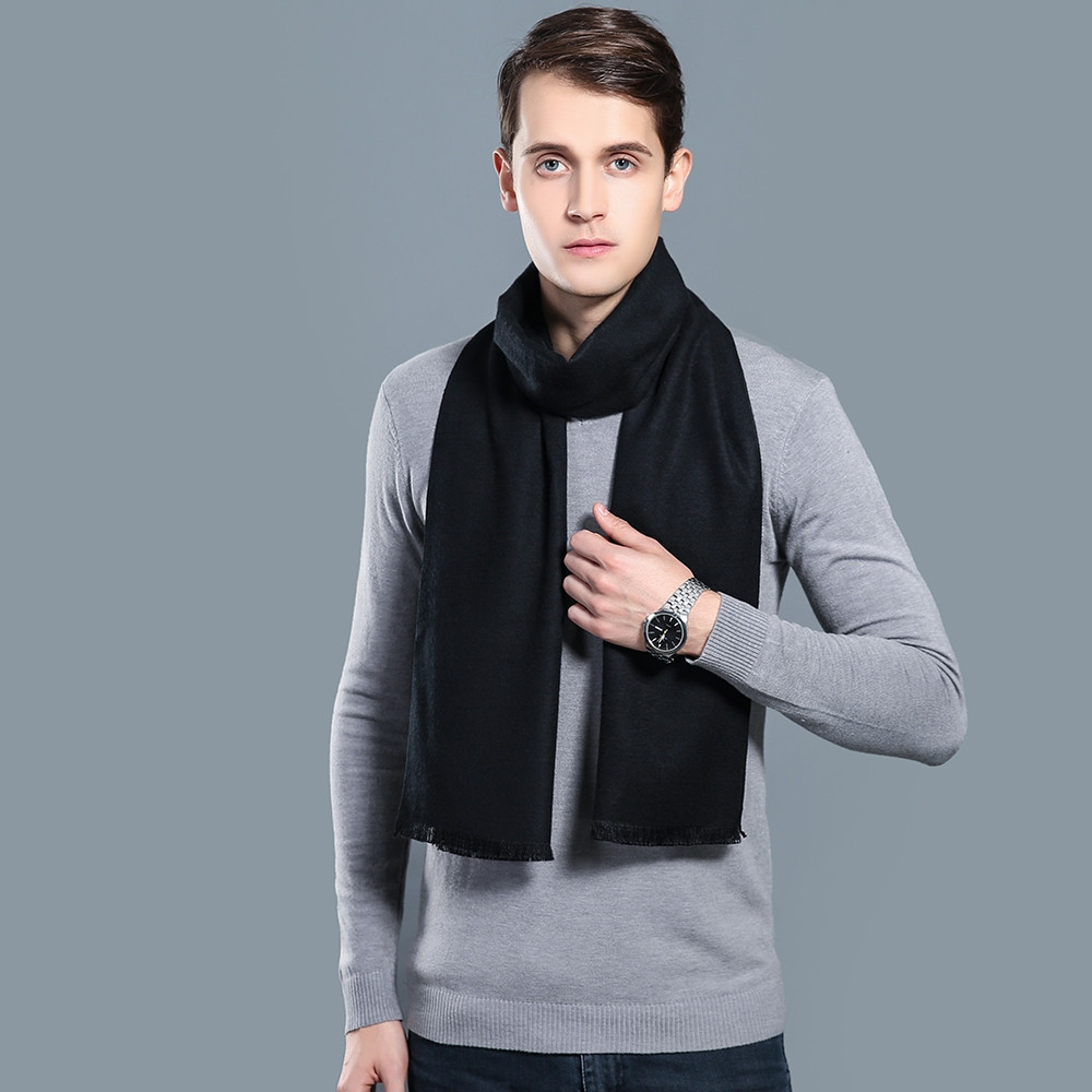 Top Quality Cashmere Solid Soft Winter Men Business Scarf JET BLACK 1PC