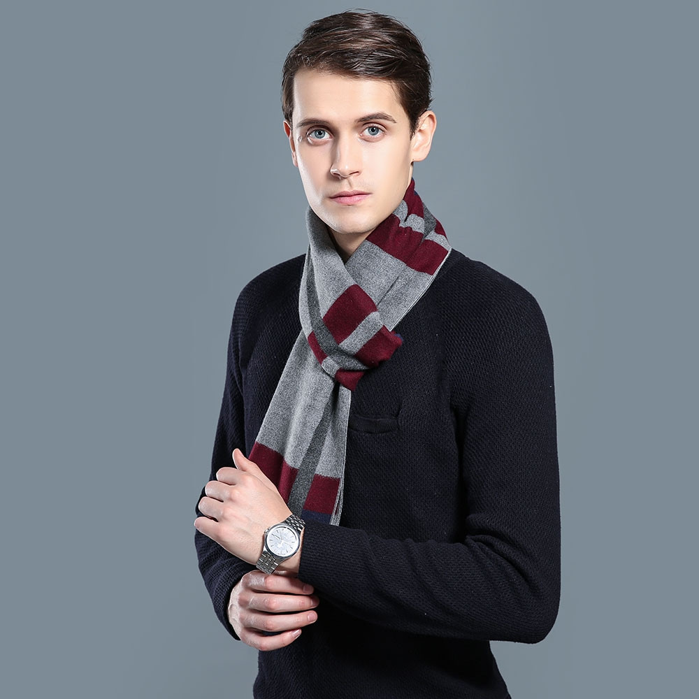 Cashmere Men Scarf Long Tassel Winter Gentleman Designer Striped Scarf SMOKEY GRAY