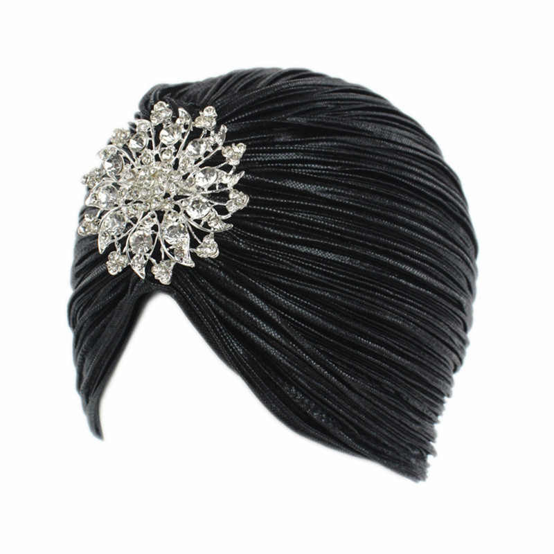 New Woman Fashion Noble Gold Wrinkle with Diamond Hat BLACK