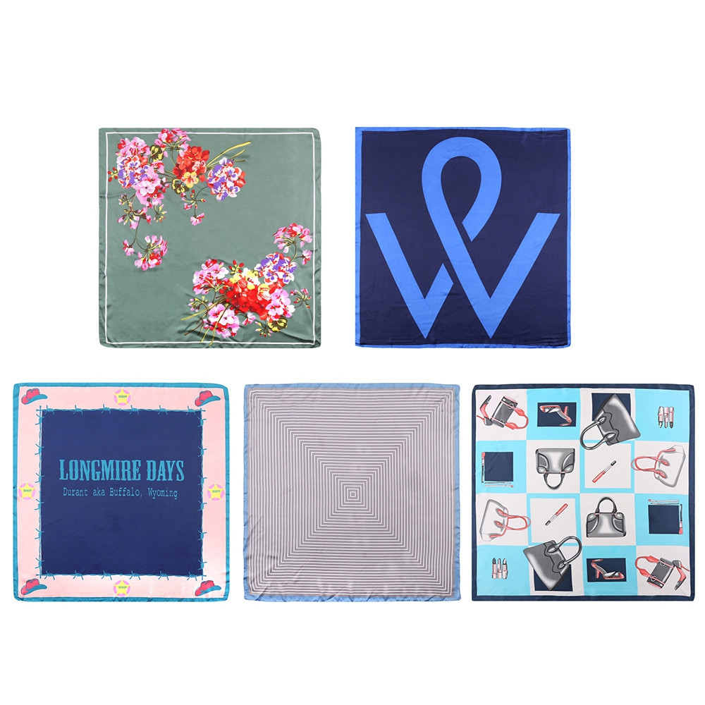 Stylish Print Color Blocking Decoration Women Neckerchief Silk Square Scarf PEACOCK BLUE