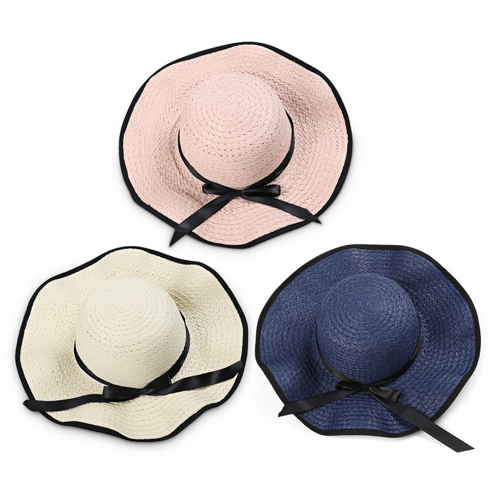 Summer Sun Hat Women Large Brimmed Beach Straw Travel Cap with Bow WARM WHITE