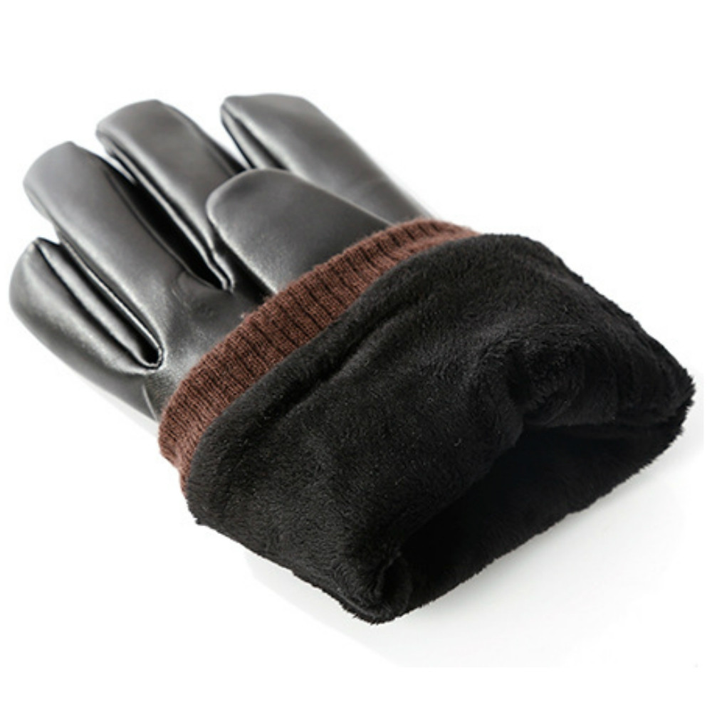 Men'S Leather Suede Windproof Gloves BLACK