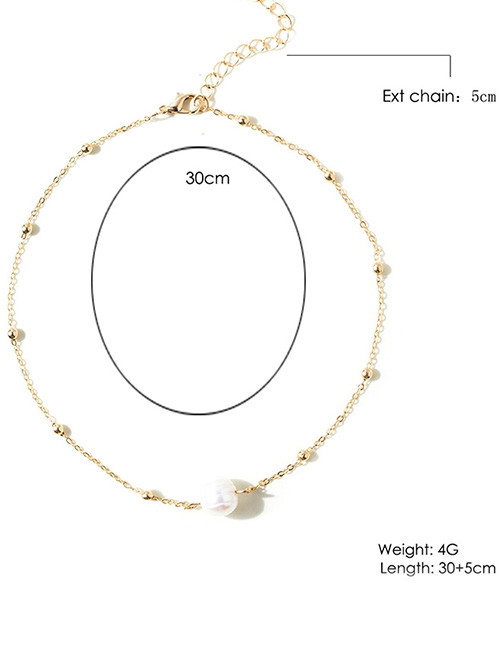 Faux Pearl Collarbone Necklace GOLDEN